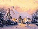 Thomas Kinkade Christmas Tree Cottage painting